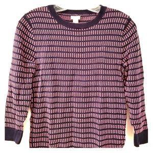🇺🇸J.Crew 3/4 Sleeve Navy & Pink Sweater